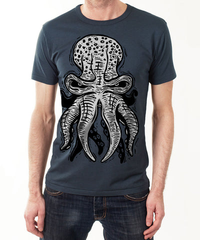 OCTOPUS 10tacled Men Bamboo Short Sleeve T-shirt Denim Blue Model