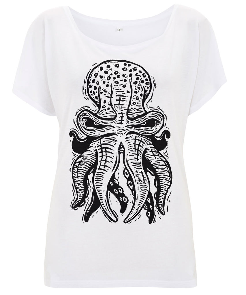 OCTOPUS 10tacled Women's Batwing Tunic Tencel Lyocell T-shirt White Front