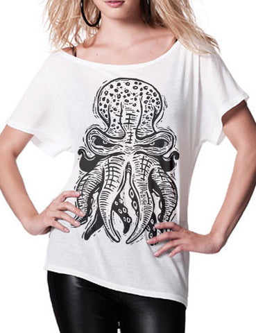 OCTOPUS 10tacled Women's Batwing Tunic Tencel Lyocell T-shirt White Model