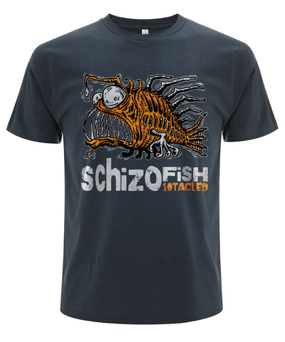 SCHIZOFISH 10tacled Men 100% Organic Cotton Short Sleeve T-shirt Denim Blue Front
