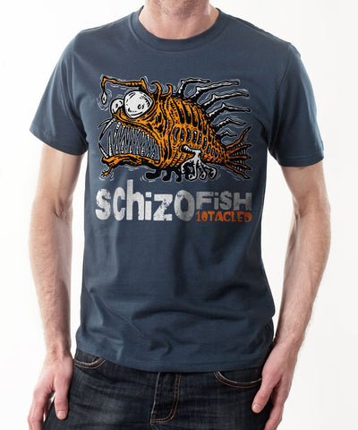 SCHIZOFISH 10tacled Men 100% Organic Cotton Short Sleeve T-shirt Denim Blue Model