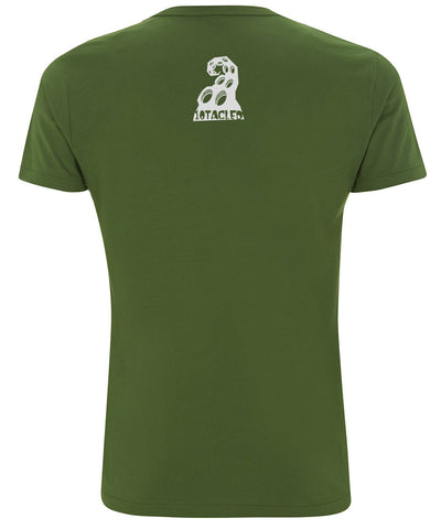 SHARK 10tacled Men Bamboo Short Sleeve T-shirt Leaf Green Back
