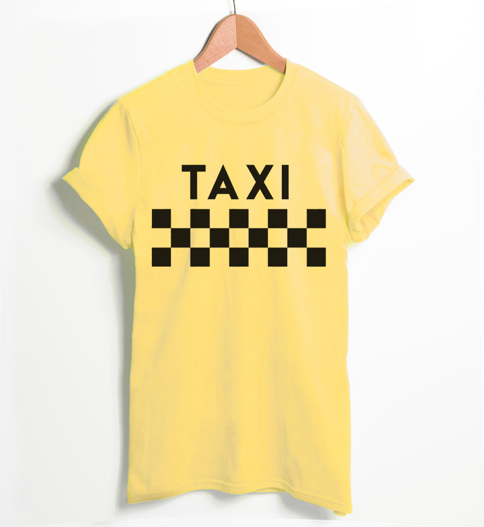 NY Taxi Checkered Womens Slogan Yellow T-Shirt