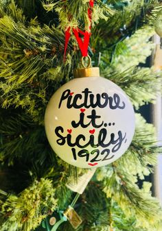 Picture It Sicily 1922 Golden Girls Ornament - Christmas ornament- fun white elephant gifts - Pick Me Cups