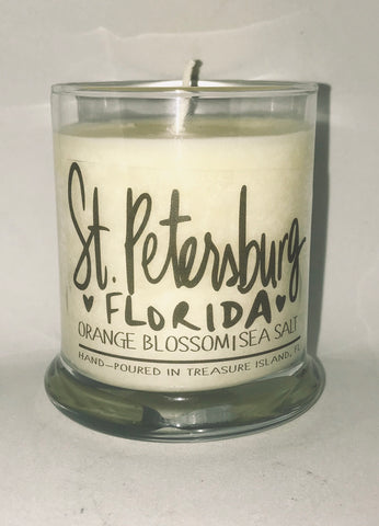 St. Petersburg Florida- 100% soy candle- 9oz jar- burns 45-50 hours- Sea salt and grapefruit or Orange Blossom