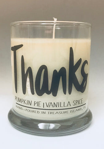 Thanks- 100% soy candle- 9oz jar- burns 45-50 hours-Pumpkin Pie Vanilla Spice