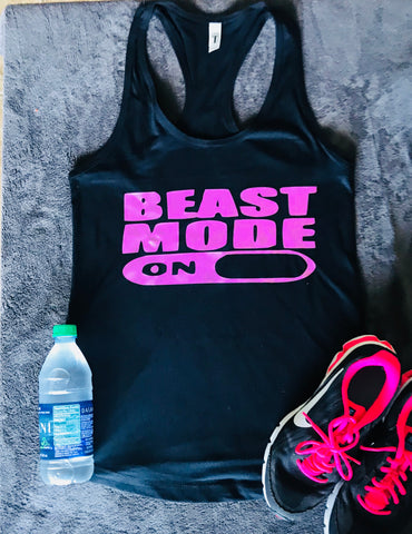 Beast Mode- Marathon- Half Marathon Running Tank- Exercise- Crossfit- Group Fitness - Pick Me Cups