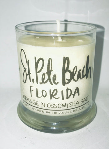 St. Pete Beach - 100% soy candle- 9oz jar- burns 45-50 hours- Sea salt and grapefruit or Orange Blossom