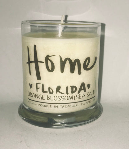 Home Florida- 100% soy candle- 9oz jar- burns 45-50 hours- Sea salt and grapefruit or Orange Blossom