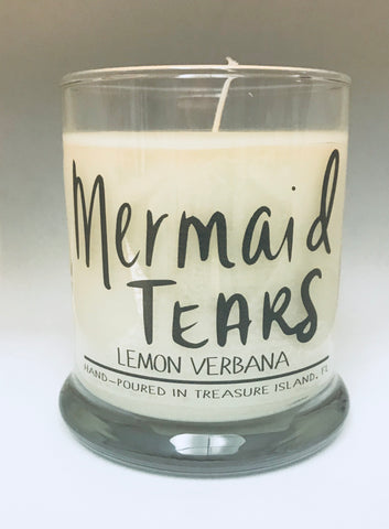 Mermaid Tears- 100% soy candle- 9oz jar- burns 45-50 hours- Lemon Verbena