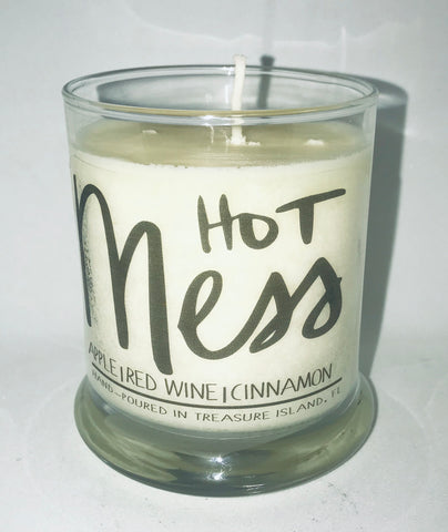 Hot Mess- 100% soy candle- 9oz jar- burns 45-50 hours- apple red wine vanilla cinnamon