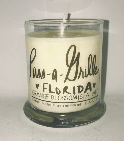 Pass-a-Grille Florida candle- 45-50 hours- Sea salt and grapefruit or Orange Blossom