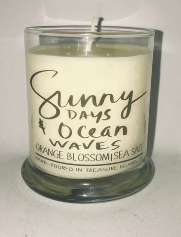 Sunny Days and Ocean Waves- 100% soy candle- 9oz jar- burns 45-50 hours- Sea salt and grapefruit or Orange Blossom