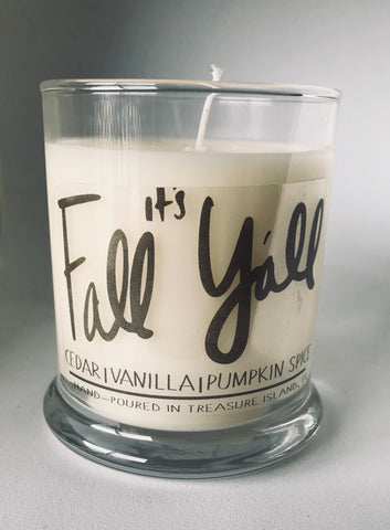 It's Fall Y'all- 100% soy candle- 9oz jar- burns 45-50 hours- Pumpkin Spice Cedar and Vanilla Holiday Halloween Candle
