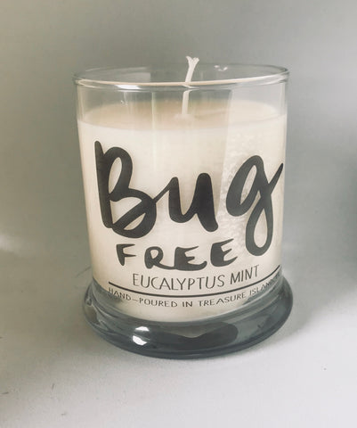 Bug Free- 100% soy candle- 9oz jar- burns 45-50 hours- Eucalyptus Mint Lemongrass Cintronella