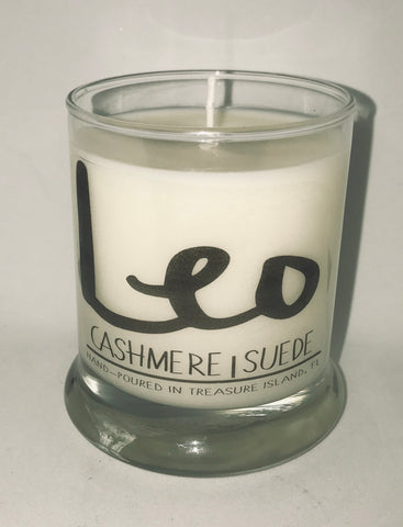 Leo Horoscope candle- 100% soy candle- 9oz jar- burns 45-50 hours- Cashmere and Suede