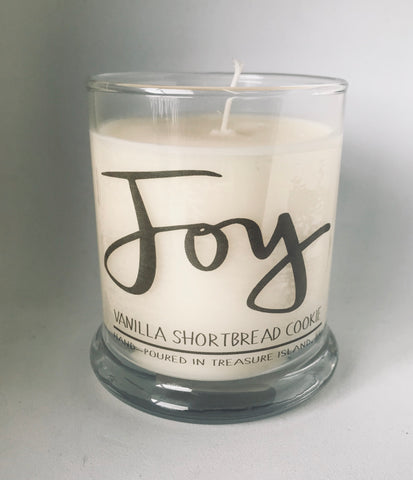 Joy- 100% soy candle- 9oz jar- burns 45-50 hours- Vanilla and Shortbread Cookie
