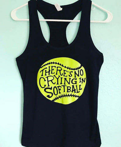 There's no crying in baseball or softball mom - Tee or Tank- Mother's Day Gift- Shirts for Moms - Pick Me Cups