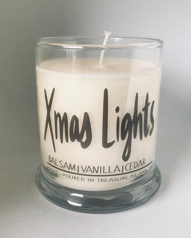 Christmas lights- 100% soy candle- 9oz jar-- Holiday Spice-Vanilla- Balsam and Cedar