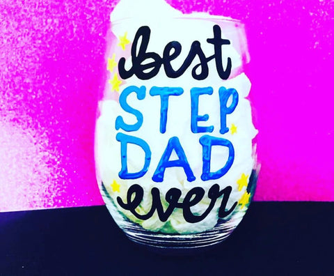 Best step Dad ever Wine Glass Father's Day Gift- Gifts for Dads- Dad Gift- Anniversary Gift- gifts for dad - Pick Me Cups