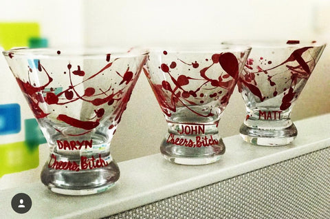 Blood Splatter Martini Wine Beer Glass- Funny Wine glasses Candles - Pick Me Cups