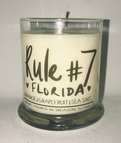 Rule #7-Florida  100% soy candle- 9oz jar- burns 45-50 hours- Sea salt and grapefruit and Orange Blossom