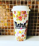 Dainty Floral Flowery Travel ceramic coffee Cup- Wedding gift- gigi- Bride Mother's Day gift grandma -Handpainted travel mug double walled - Pick Me Cups