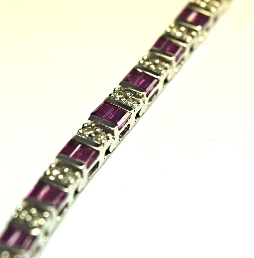 Diamond and ruby tennis bracelet