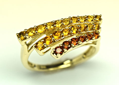 Citrine and Garnet Yellow Gold Ring