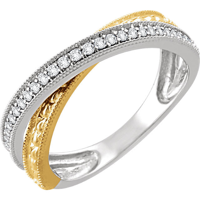 White and Yellow Diamond Criss Cross Ring