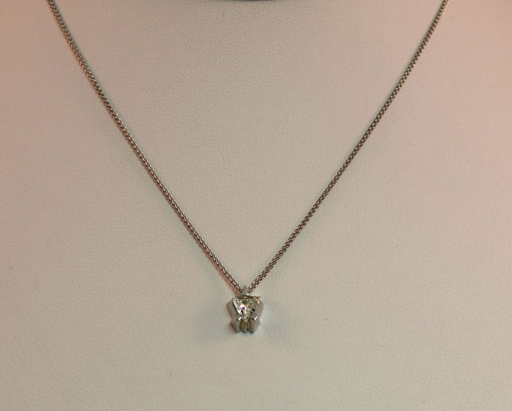 White Gold Trillion Necklace