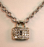 White Gold Diamond Lock Necklace