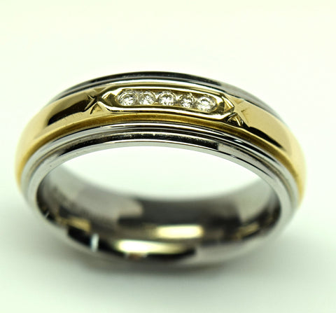 Men's Stainless Steel 14K Yellow Gold and Diamond Ring