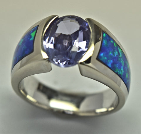 White Gold Iolite Blue Opal Ring