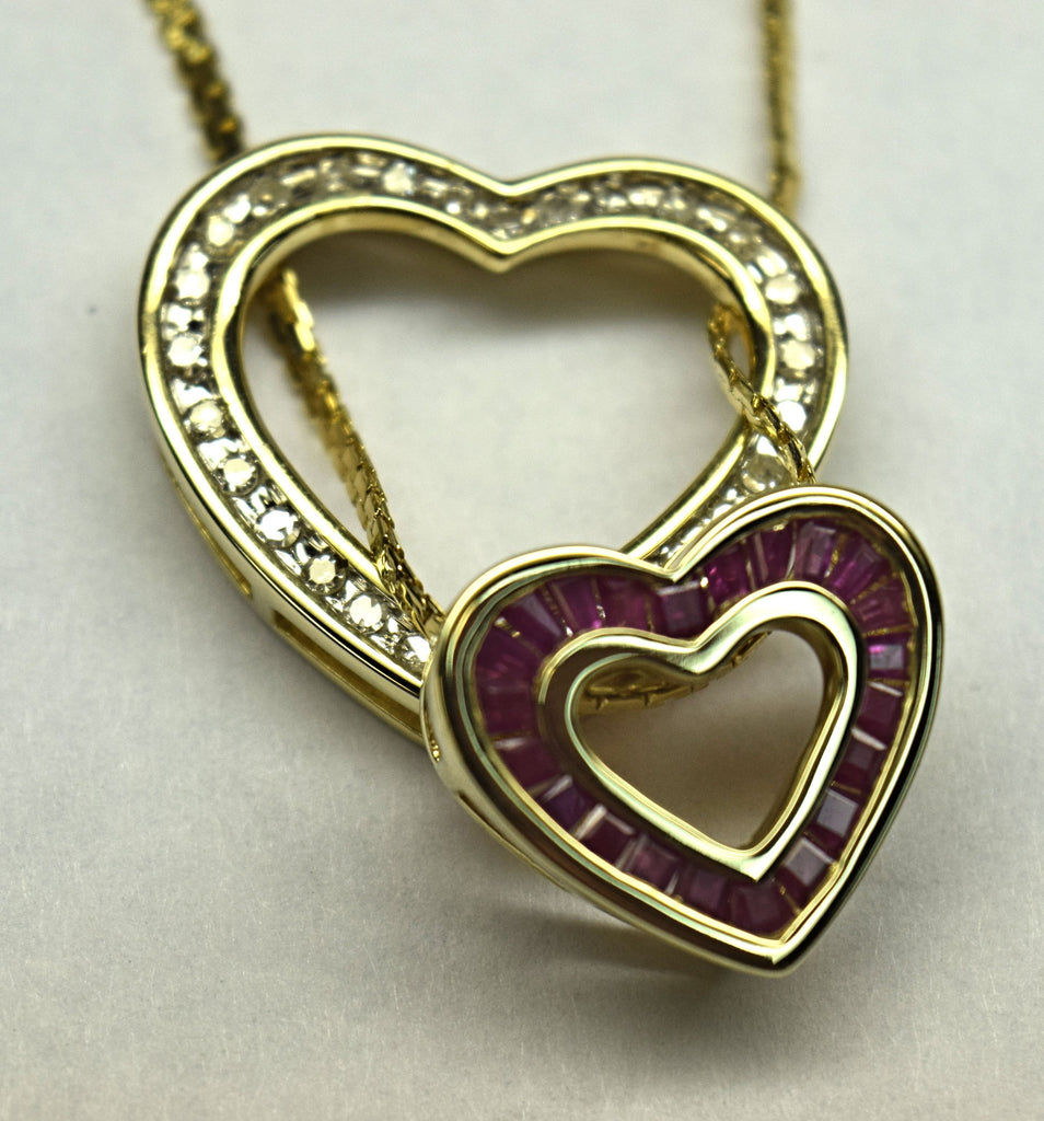 Yellow Gold Heart diamond ruby neckalce