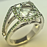 White Gold Green Amethyst and Green Diamond Ring