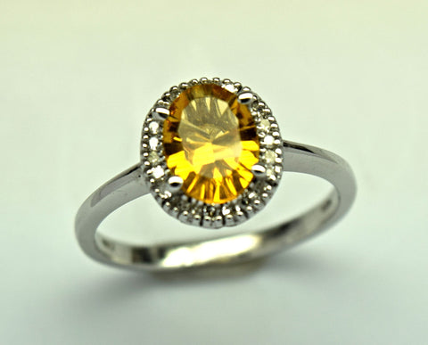 white gold citrine and diamond ring