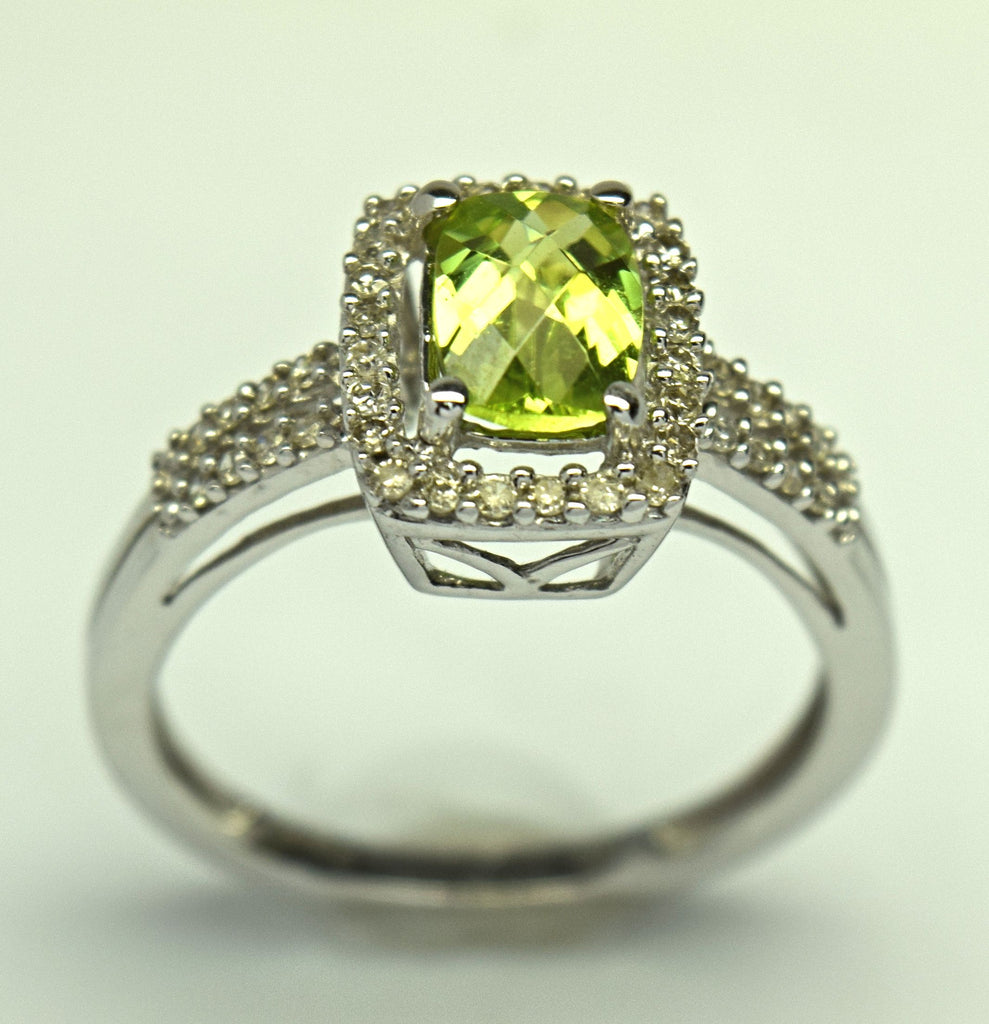 white gold peridot and diamond ring