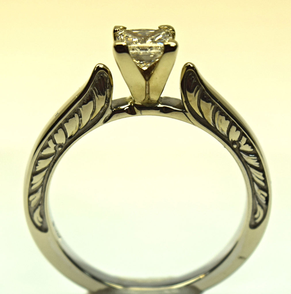 White Gold Princess Cut Cathedral Style Solitaire
