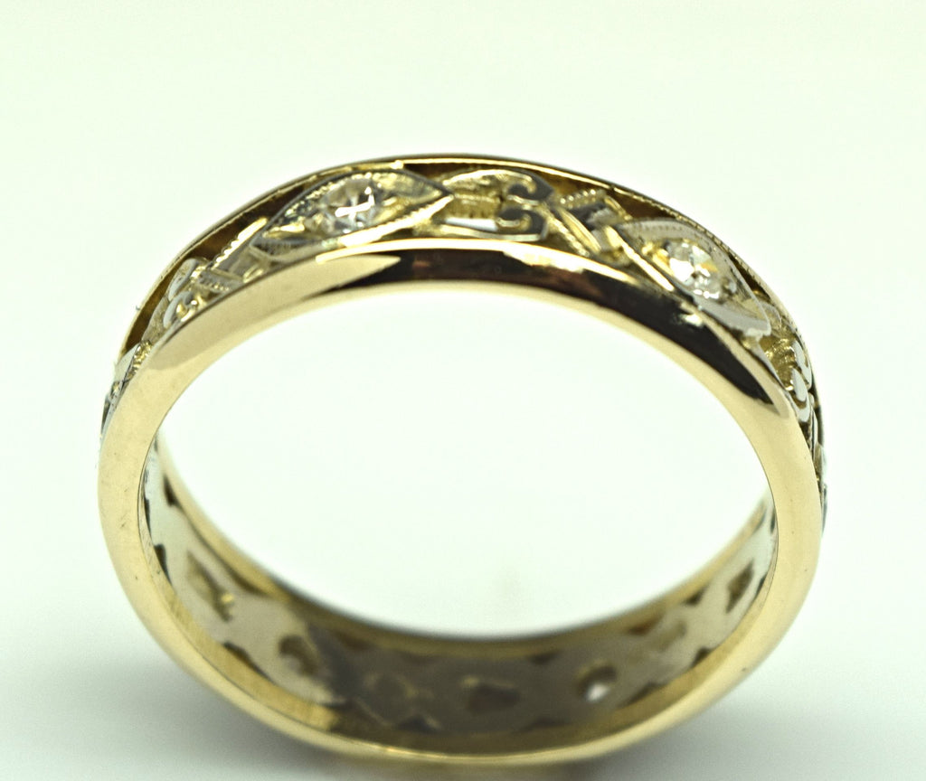 Two-Tone Vintage Diamond Band