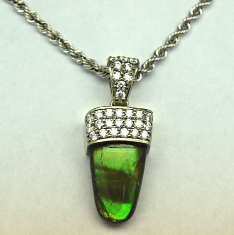 White Gold Ammolite Necklace