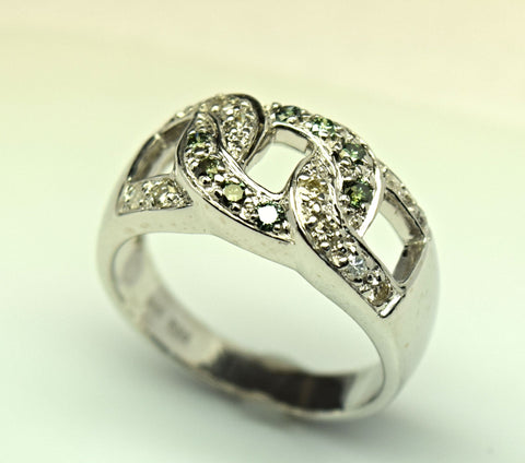 white gold green and white diamond ring
