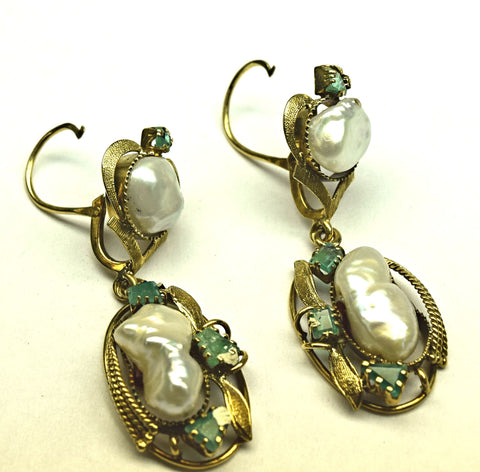 Emerald and Mother of Pearl Earrings