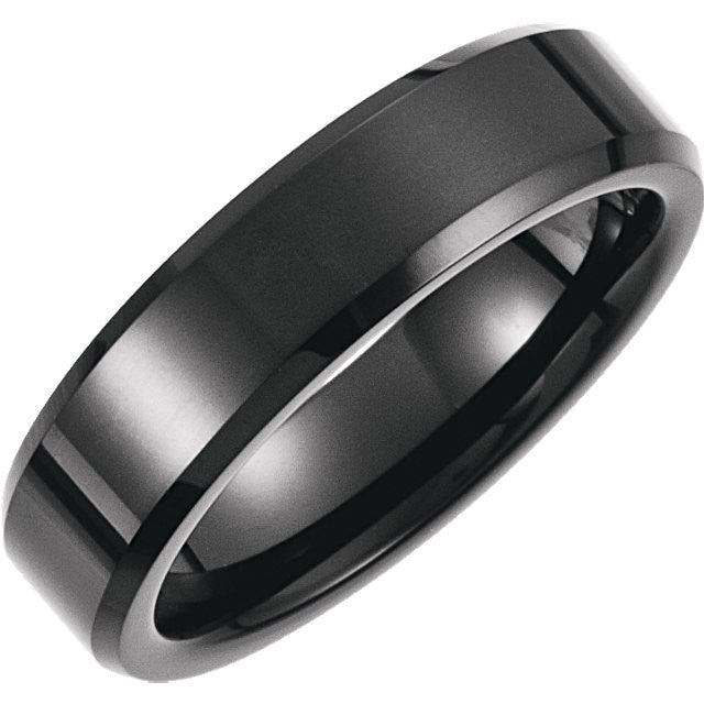 Tungsten Beveled Band with Black PVD