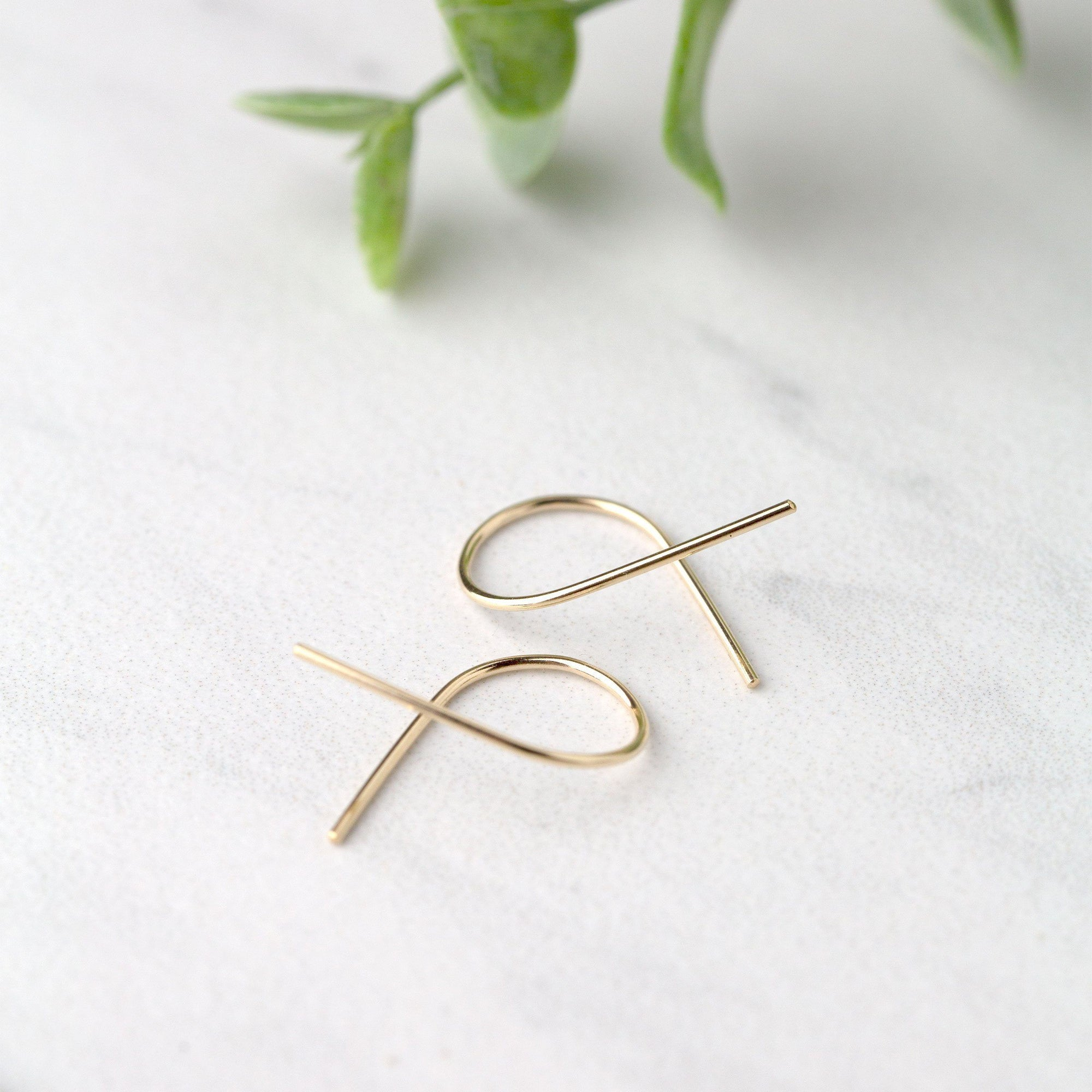 14K Gold Twist Earrings - Handmade Jewelry by Burnish