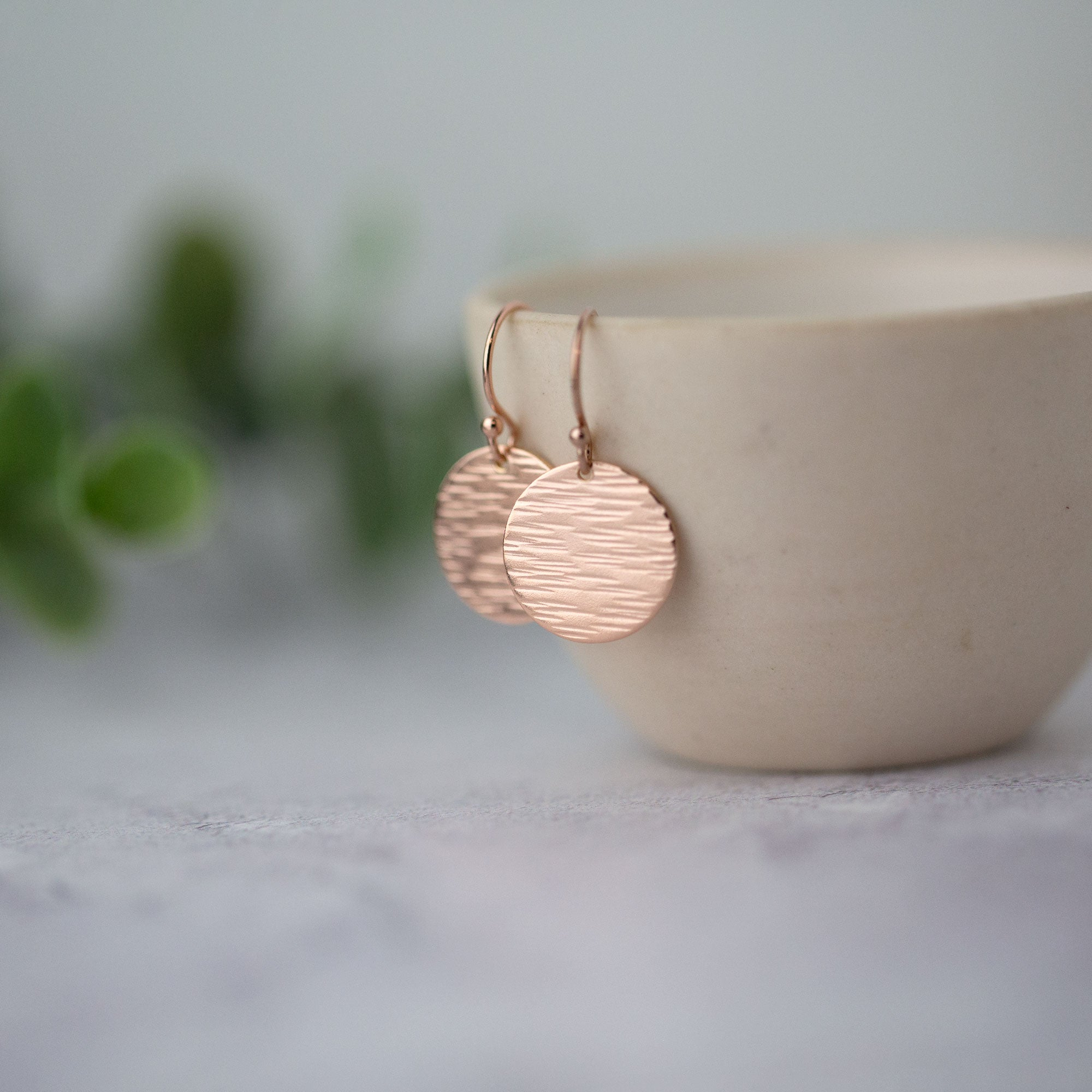 Medium Bark Texture Rose Gold Disc Earrings