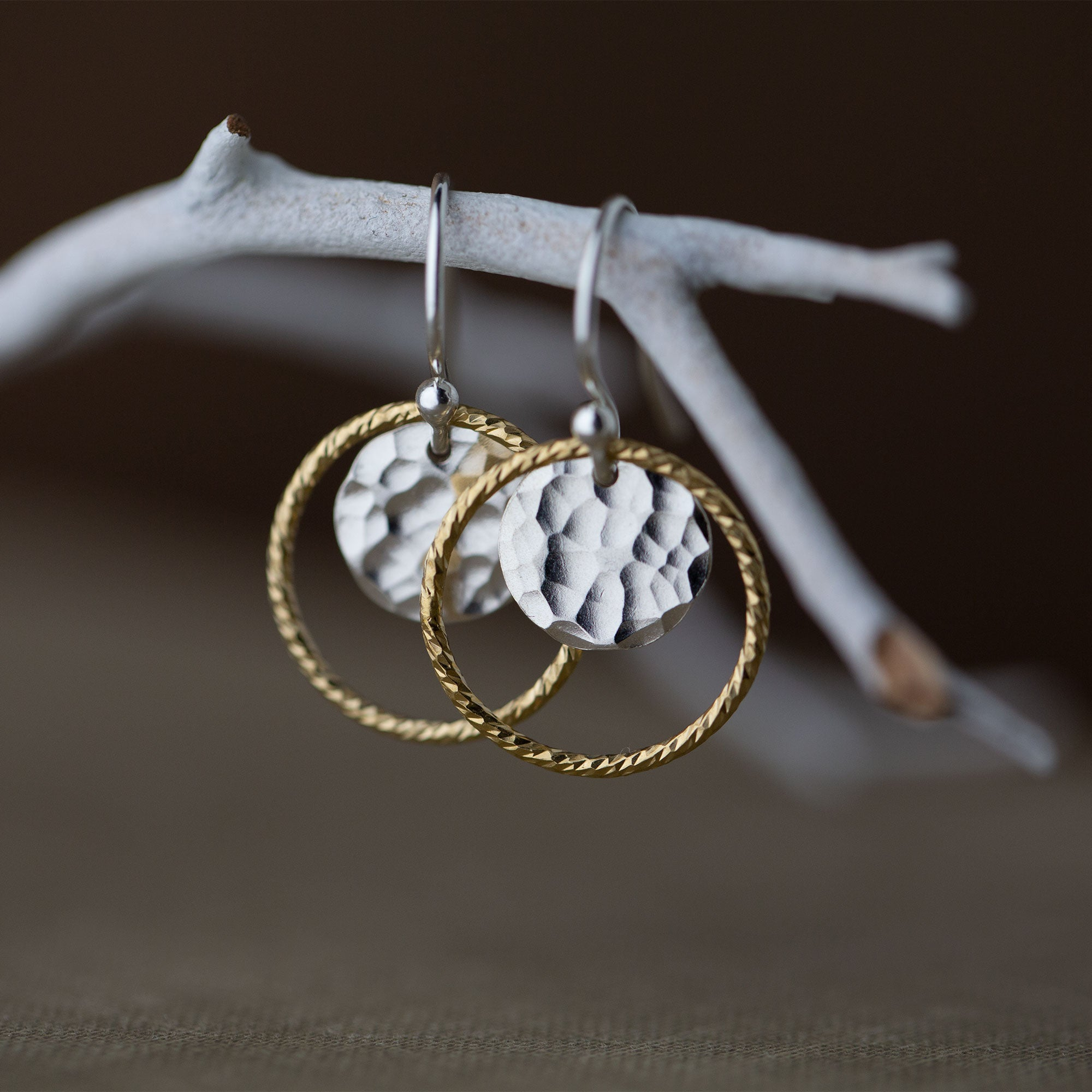 Gold and Silver Sparkle Circle Earrings