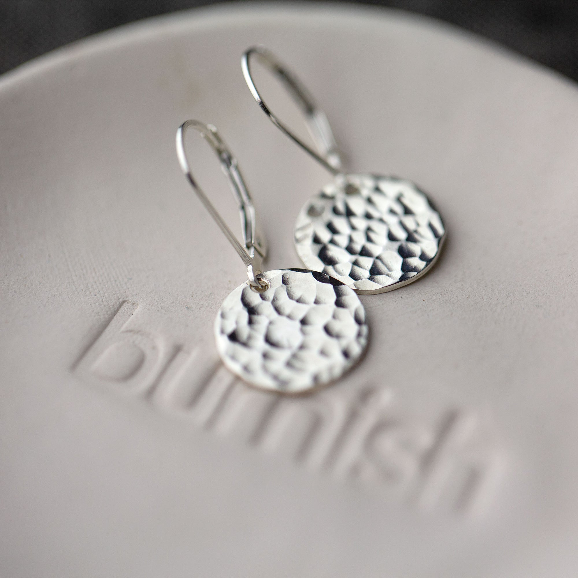 Medium Silver Hammered Disc Lever-back Earrings