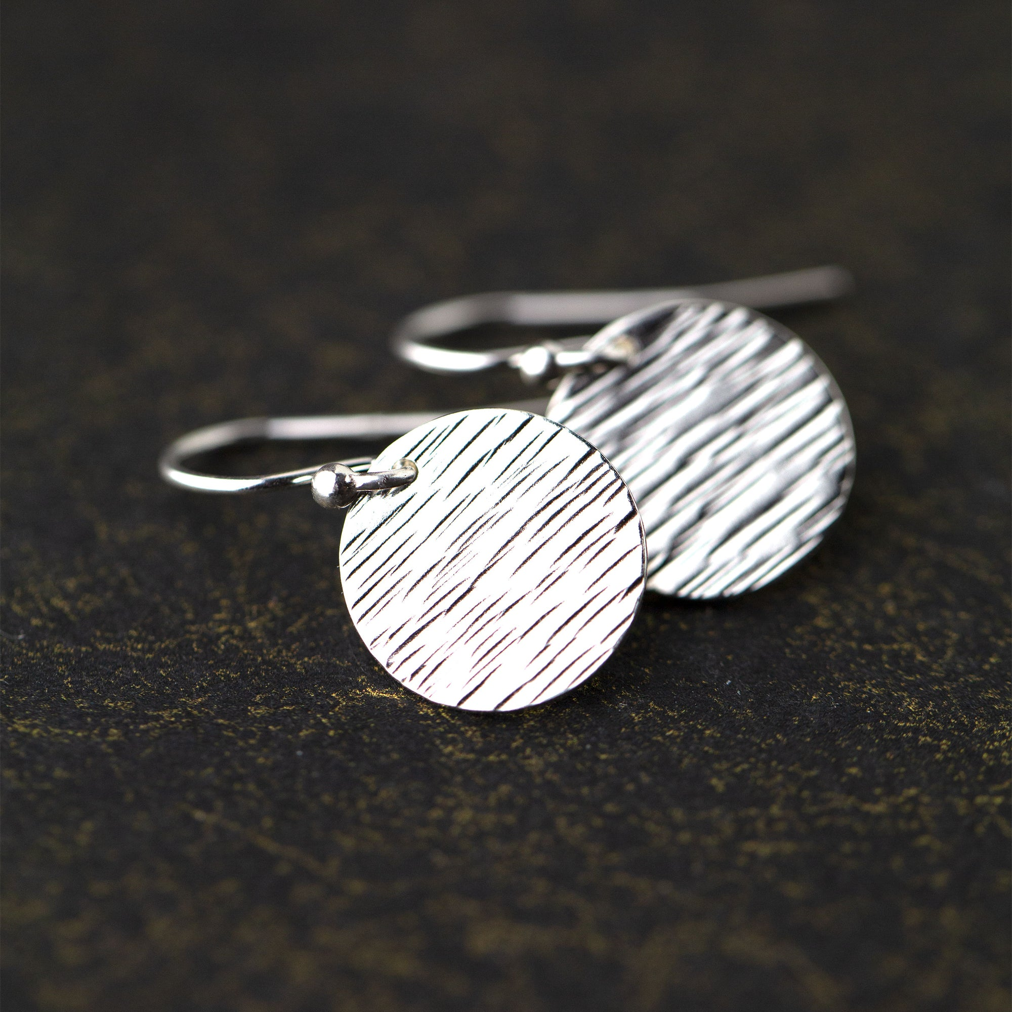 Silver Medium Hammered Bark Disc Earrings