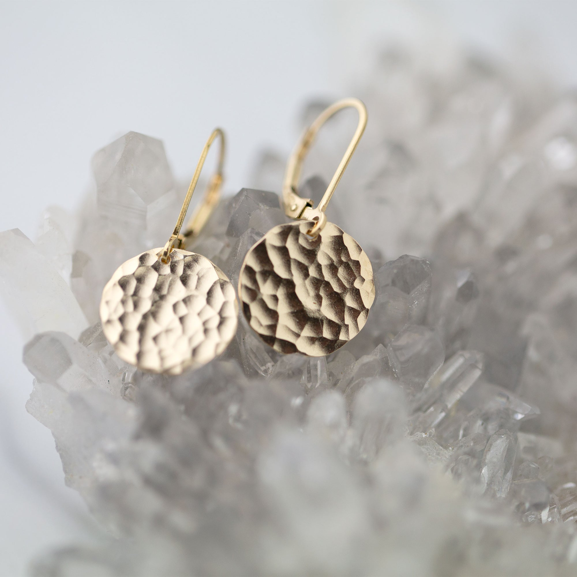 Medium Gold Hammered Disc Lever-back Earrings